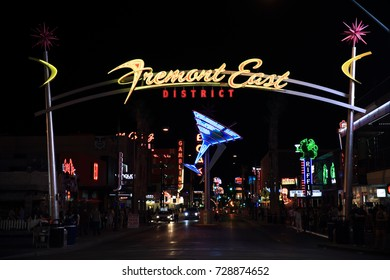 Las Vegas, USA - September 12, 2017: Fremont street, down town Las Vegas. Fremont Street had Las Vegas' first hotel.