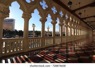 Las Vegas, USA - September 12, 2017: The Venetian Resort Hotel Casino and Las Vegas strip view. The resort opened on May 3, 1999