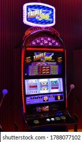 LAS VEGAS, USA - September 13, 2019: View to a slot machine in a casino in Las Vegas