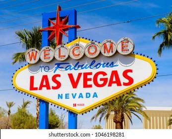 LAS VEGAS, USA - SEPTEMBER 21, 2017: Welcome to the Fabulous Las Vegas sign, U.S. state of Nevada