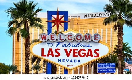 LAS VEGAS, USA - SEPTEMBER 25, 2019: Welcome to Fabulous sign with Mandalay Bay Hotel on the background