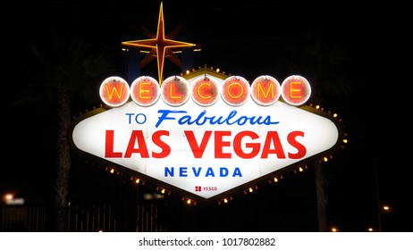 Las Vegas, USA-November 07,2017: Welcome to Las Vegas, the pointer is illuminated at night. The gate on the Boulevard Strip