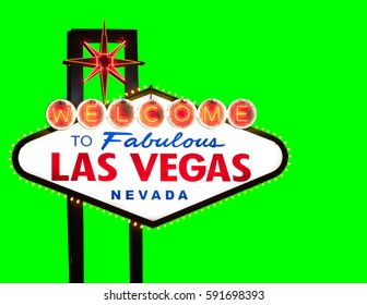 Las Vegas welcome sign isolated on green background for your design