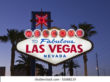 Las Vegas Welcome sign in late evening light.