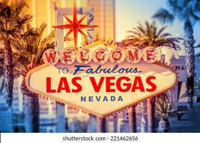 Las Vegas Welcomes You. Iconic Las Vegas Boulevard Sign Closeup. Nevada, United States.