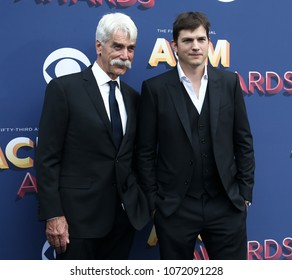 LAS VEGAS-APR 15: Actors Sam Elliott and Ashton Kutcher  attend the 53rd Annual Academy of Country Music Awards on April 15, 2018 at the MGM Grand Arena in Las Vegas, Nevada.