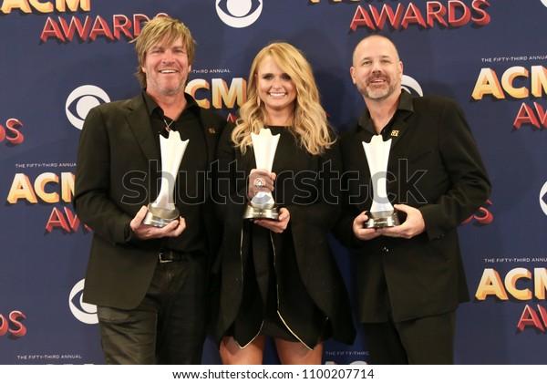 LAS VEGAS-APR 15: (L-R) Jack Ingram, Miranda Lambert & Jon Randall attend the press room at the 53rd Annual Academy of Country Music Awards on April 15, 2018 at MGM Grand Arena in Las Vegas, Nevada.