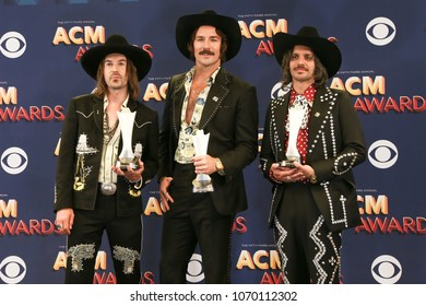 LAS VEGAS-APR 15: (L-R) Jess Carson, Mark Wystrach and Cameron Duddy of Midland attend the 53rd Annual Academy of Country Music Awards on April 15, 2018 at MGM Grand in Las Vegas, Nevada.