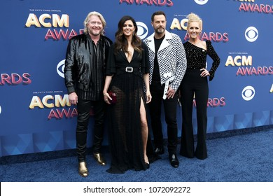 LAS VEGAS-APR 15: Phillip Sweet, Karen Fairchild, Jimi Westbrook & Kimberly Schlapman of Little Big Town attend the 53rd Academy of Country Music Awards on April 15, 2018 at MGM Grand in Las Vegas.