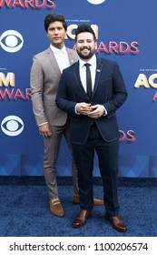 LAS VEGAS-APR 15: Singers Dan Smyers (L) and Shay Mooney of Dan + Shay attend the 53rd Annual Academy of Country Music Awards on April 15, 2018 at the MGM Grand Arena in Las Vegas, Nevada.