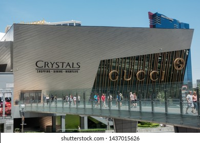 Las Vegas,AZ/USA - 6.27.2019:The Shops at Crystals, a luxury-goods shopping mall; In April 2016, Invesco and Simon Property Group purchased Crystals for $1.1 billion, with Simon owning 50% of it.