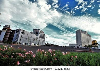 Las Vegas,Nevada,usa.Oct,11,2016 : Landscape view of Las Vegas cityscape at sunset,las vegas,Nevada,usa.