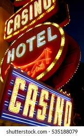 LAS VEGAS,NV - OCTOBER 10, 2016: Golden Gate Hotel & Casino sign illuminated by night, on October 10, 2016 in Las Vegas. It is the oldest and smallest hotel located on the Fremont Street Experience.