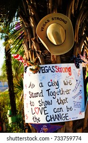 LAS VEGAS,NV-OCT 07 ,2017 : Flowers and gifts at the memorial park by the Mandalay Bay on the Vegas Strip at Near the Mandalay Bay to remember victims killed in the Las Vegas attack shooting.Movement