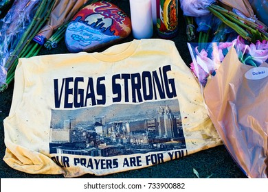 LAS VEGAS,NV-OCT 07 ,2017 : Flowers and gifts at the memorial park on the Vegas Strip at Near the Mandalay Bay to remember victims killed in the Las Vegas attack shooting.Movement to regulate the gun