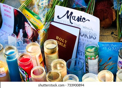LAS VEGAS,NV-OCT 07 ,2017 : Flowers and gifts at the memorial park on the Vegas Strip at Near the Mandalay Bay to remember victims killed in the Las Vegas attack shooting.Movement to regulate the gun.