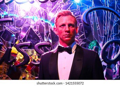 Las vegas,NV/USA - Oct 07, 2017: Close up shot of the wax figure of Daniel Craig, an English actor who starred as James Bond in several movies displayed at the Madame Tussauds wax museum in Las Veges.