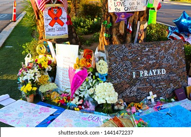 Las Vegas,NV/USA - Oct 07 ,2017 : Memorial Message of the Las Vegas Shooting victims on the Las Vegas Strip Near the Mandalay Bay.Movement to regulate the gun.Gun shooting incident.