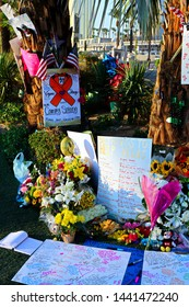 Las Vegas,NV/USA - Oct 07 ,2017 : Memorial Message of the Las Vegas Shooting victims on the Las Vegas Strip Near the Mandalay Bay.Movement to regulate the gun