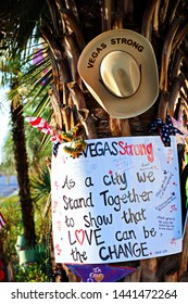 Las Vegas,NV/USA - Oct 07 ,2017 : Memorial Message of the Las Vegas Shooting victims on the Las Vegas Strip Near the Mandalay Bay.