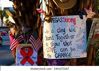 Las Vegas,NV/USA - Oct 07 ,2017 : Memorial Message of the Las Vegas Shooting victims on the Las Vegas Strip Near the Mandalay Bay.Gun shooting incident.