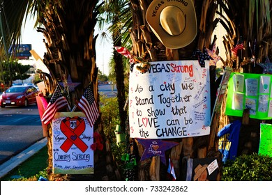 Las Vegas,NV/USA - Oct 07 ,2017 : Memorial Message of the Las Vegas gun shooting victims on the Las Vegas Strip Near the Mandalay Bay. In memory of the 58 victims from the 1 October,2017 shooting.