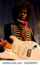 Las Vegas,NV/USA - Oct 09, 2017: Jimi Hendrix as James Marshall Hendrix famous guitarlist, Madame Tussauds wax museum in Las Vegas Nevada.