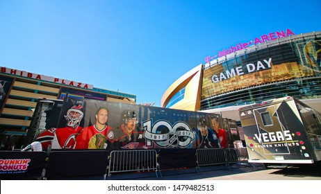 Las Vegas,NV/USA - Oct 29,2017 : Exterior view of the T Mobile Arena in Las Vegas. It is the home of the Golden Knights ice hockey team.