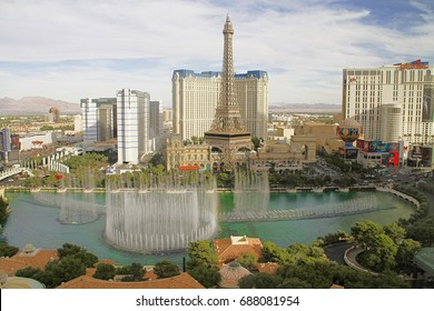 Las Vegas,NV/USA - Oct 31, 2016: Fountains of Bellagio in Las Vegas  which have featured in several movies, is a large dancing water fountain synchronized to music.