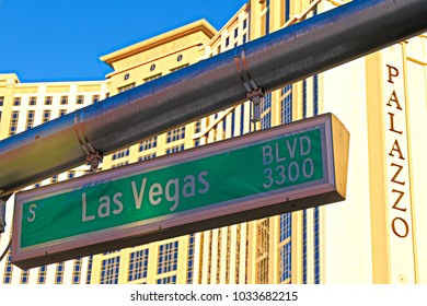 LAS VEGAS,NV,USA - Oct 8 2017: Load sign of Las Vegas BLVD background of  the Palazzo luxury hotel and casino resort located on the Strip in Las Vegas,Nevada.