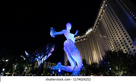 LAS VEGAS,NV/USA - October 07,2017 : The Bliss Dance Sculpture display at the T-Mobile park in Las Vegas.The 40-foot-tall sculpture of a dancing woman created by artist Marco Cochrane.