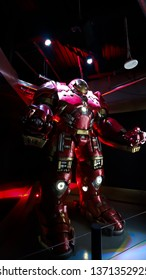 las Vegas,NV/USA -Sep 15, 2018: Hulk Buster Iron Man costume at the Tony Stark base at the Avengers experience in Treasure Island Hotel and Casino on Las Vegas Strip.