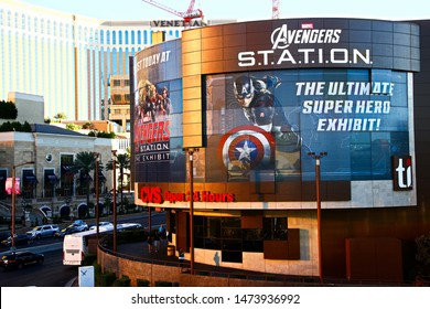 Las Vegas,NV/USA Sep 15,2018 : Marvel Avengers station in front of the Treasure Island Hotel and Casino, Las Vegas Strip in Paradise, Nevada.