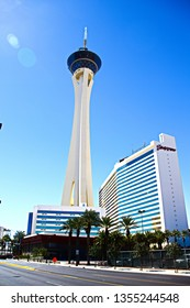 Las Vegas,NV/USA - Sep 15,2018 : Stratosphere Las Vegas in Vegas. Stratosphere Tower, 1,149 ft (350.2 m) high, is the tallest freestanding observation tower in the United States.