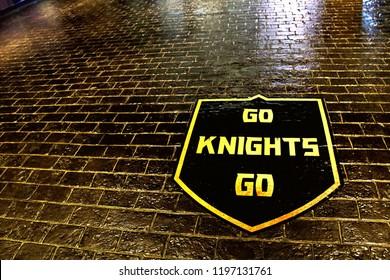LAS VEGAS,NV/USA - SEP 15,2018 : View of the Las Vegas Golden Knights Ice hockey club team logo mark in Las Vegas.