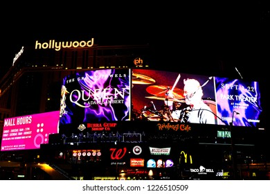 LAS VEGAS,NV/USA - SEP 15,2018 : View of the Live announcement of Queen and Adam Lambert in Las Vegas.Bohemian Rhapsody Movie featuring the band Queen.