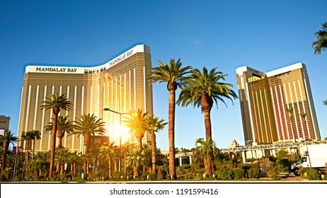 LAS VEGAS,NV/USA - SEP 16,2018 : The Mandalay Bay resort and casino,one year after the Las Vegas shooting incident on the Las Vegas Strip.