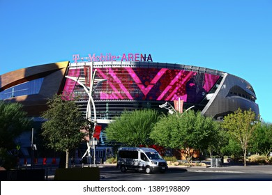 Las Vegas,NV/USA - Sep 17,2018 : Exterior view of the T Mobile Arena in Las Vegas. It is the home of the Golden Knights ice hockey team.