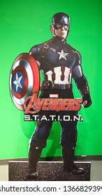 LAS VEGAS,USA - OCT 09 2017:Statue of Captain America and Avengers station logo at the Avengers experience in Treasure Island Hotel and Casino on Las Vegas Strip.