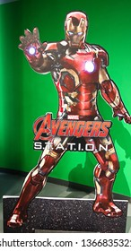 LAS VEGAS,USA - OCT 09 2017:Statue of Iron Man and Avengers station logo at the Avengers experience in Treasure Island Hotel and Casino on Las Vegas Strip.