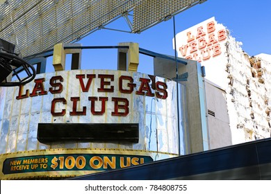 LAS VEGAS,USA OCT 10 2017 : The Las Vegas Club, an iconic downtown Fremont Street hotel and casino, gets demolished to make way for a new resort, 18 Fremont by casino mogul Derek Stevens