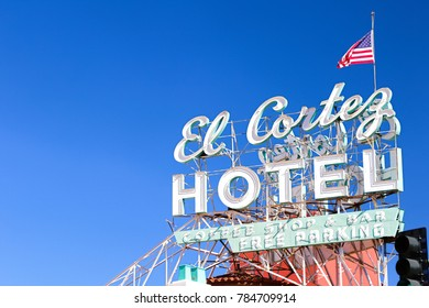 LAS VEGAS,USA - Oct 8 2017: Sign of El Cortez Hotel and Casino. It is one of the oldest casino hotel properties in Las Vegas in continuous operation at the same Fremont Street location since 1941.