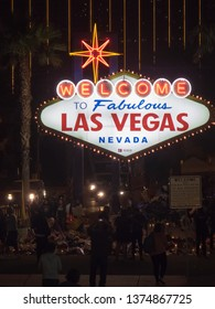 Las Vegas/USA - October 14 2017: Las Vegas welcome sign by night. Las Vegas is famous for its mega casino–hotels and associated activities.