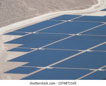 Las Vegas/USA - October 14 2017: Nevada Solar One power plant seen from helicopter. This is a concentrated solar power located in Eldorado Valley