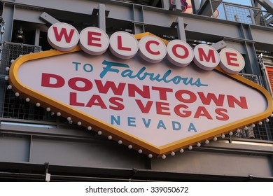 LAS VEGAS,USA-Oct 31:Welcome to Fabulous Downtown Las Vegas sign at Fremont Street on October 31, 2015 in Las Vegas.It is a major resort city known primarily for gambling,shopping,dining and nightlife