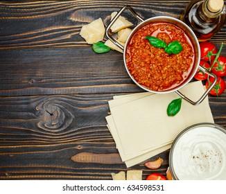 lasagna pasta sheets, bolognese and bechamel sauce