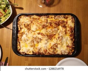 Lasagna with salad