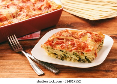 Lasagna with spinach, ricotta and feta.