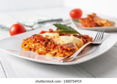 Lasagne alla bolognese, dish of traditional pasta from Bologna, Italy