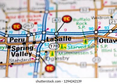 LaSalle. Illinois. USA on a map